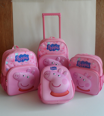 EVA Cartoon Peppa Pig School Trolley Bag/Stationery